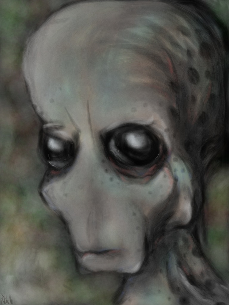 iPad painting of an alien grey head