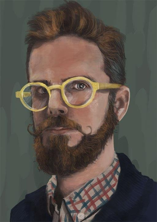 iPad art of a bearded man with yellow glasses