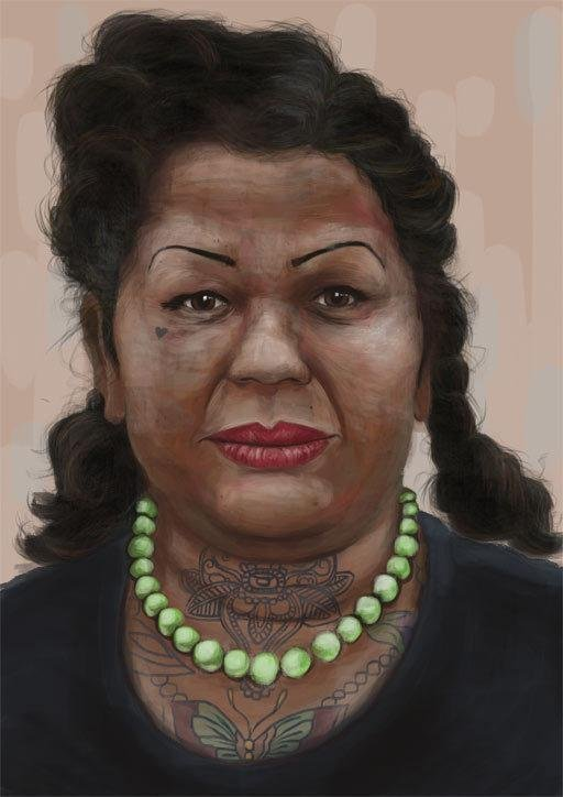 iPad art of a tattooed lady