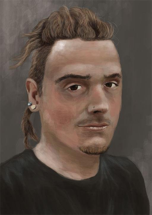 iPad painting of a young man with dreadlocks and pierced ears