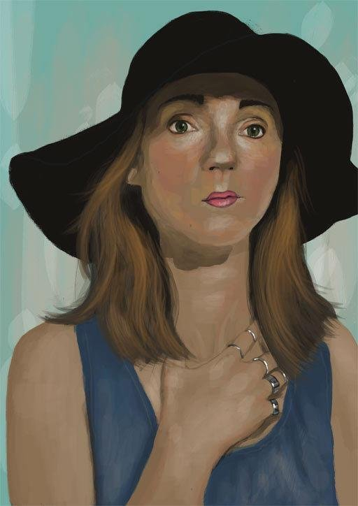 iPad artwork portrait of a young lady in a hat