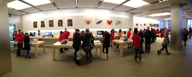 iPad art on display on the walls of the Regent Street Apple store in the UK