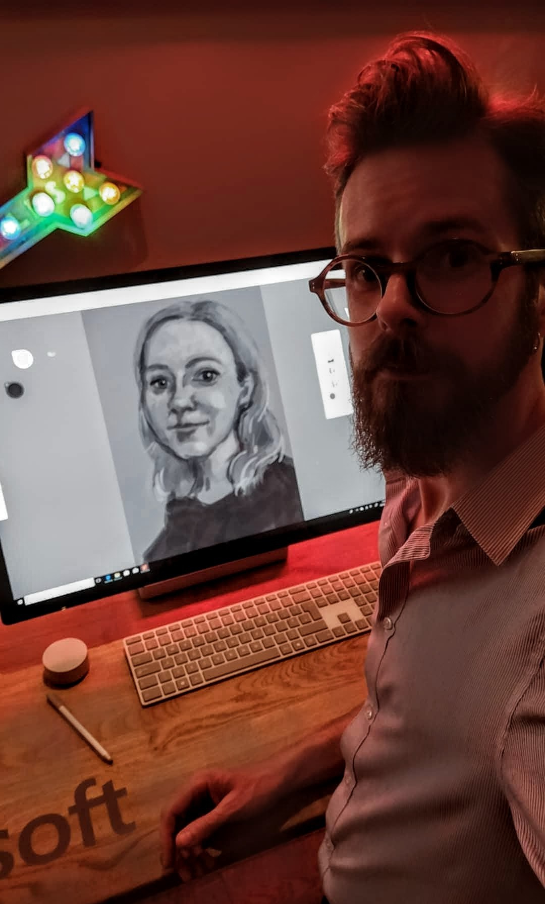 Digital Artist Roz Hall demonstrates the Microsoft Surface Studio at the 2018 BIMA awards