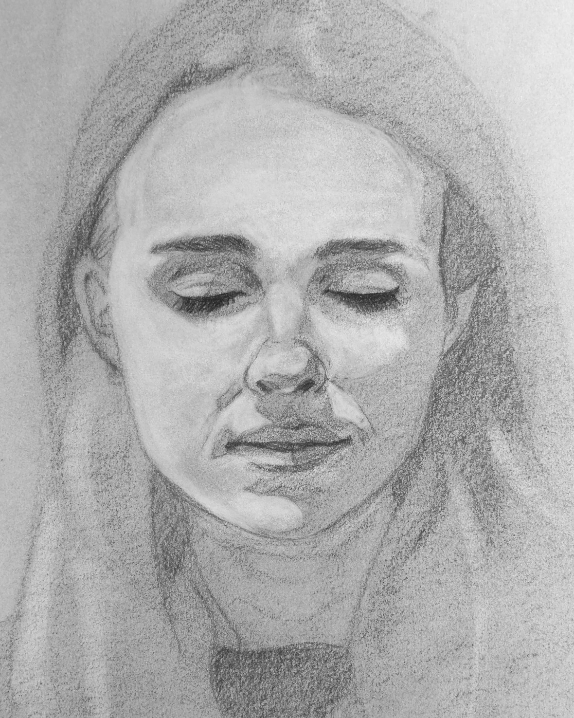 Charcoal drawing of a woman's face