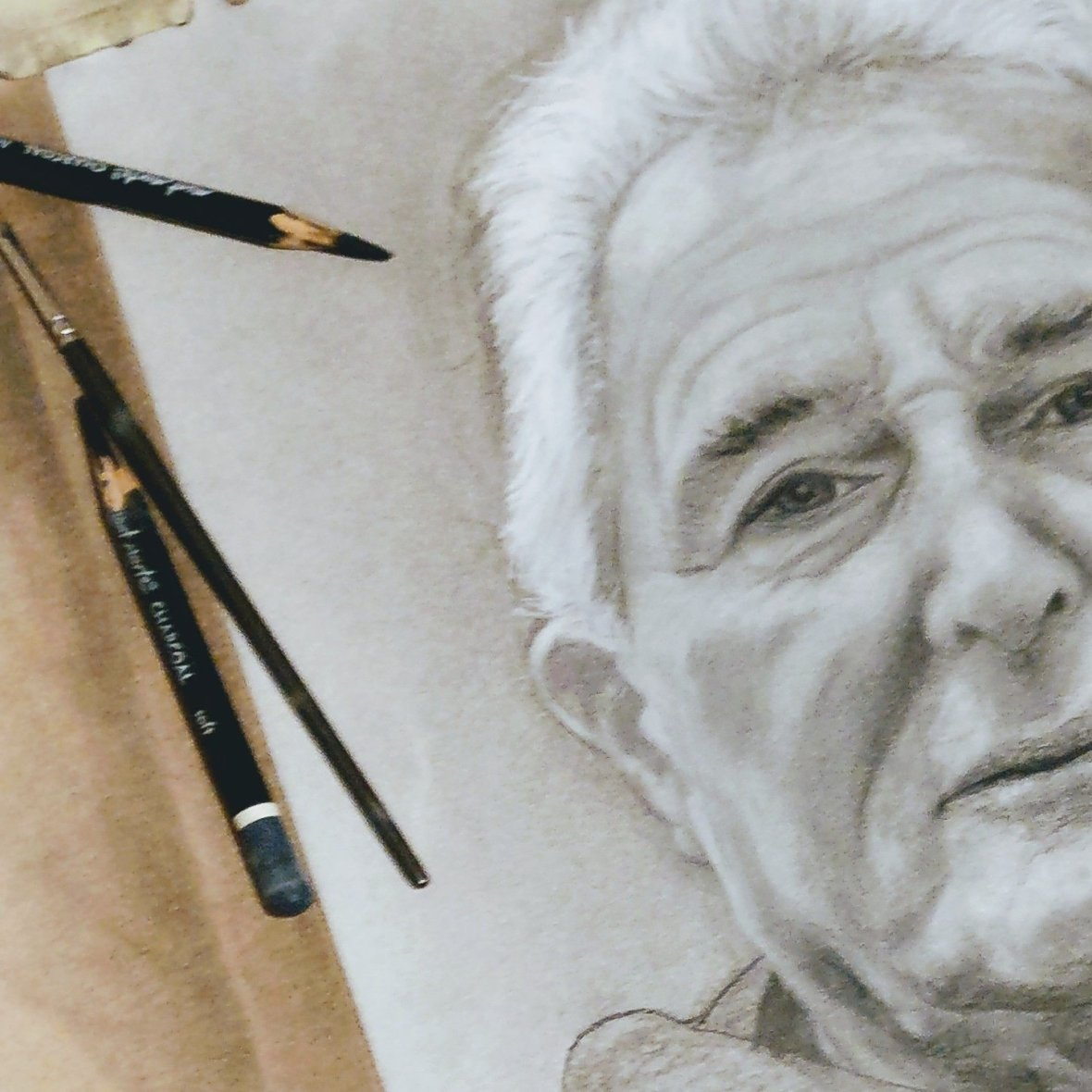 Charcoal artwork. Portrait of the artists father