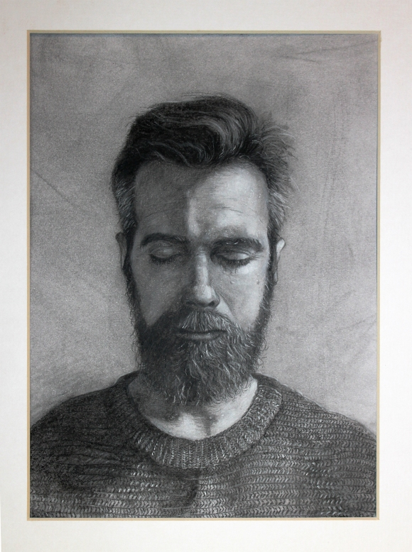 Charcoal portrait of the artist