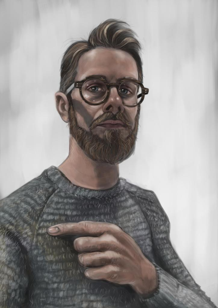 Digital painting of a bearded man in glasses