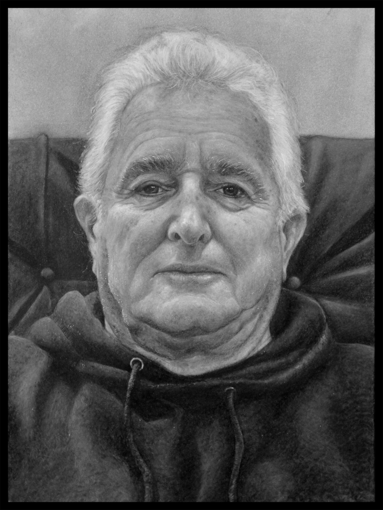 Charcoal portrait of a man with white hair