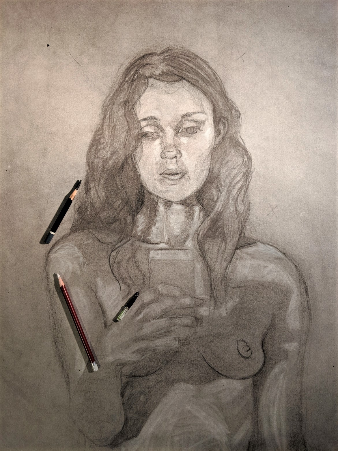 Charcoal drawing of Eve holdind the apple (phone)