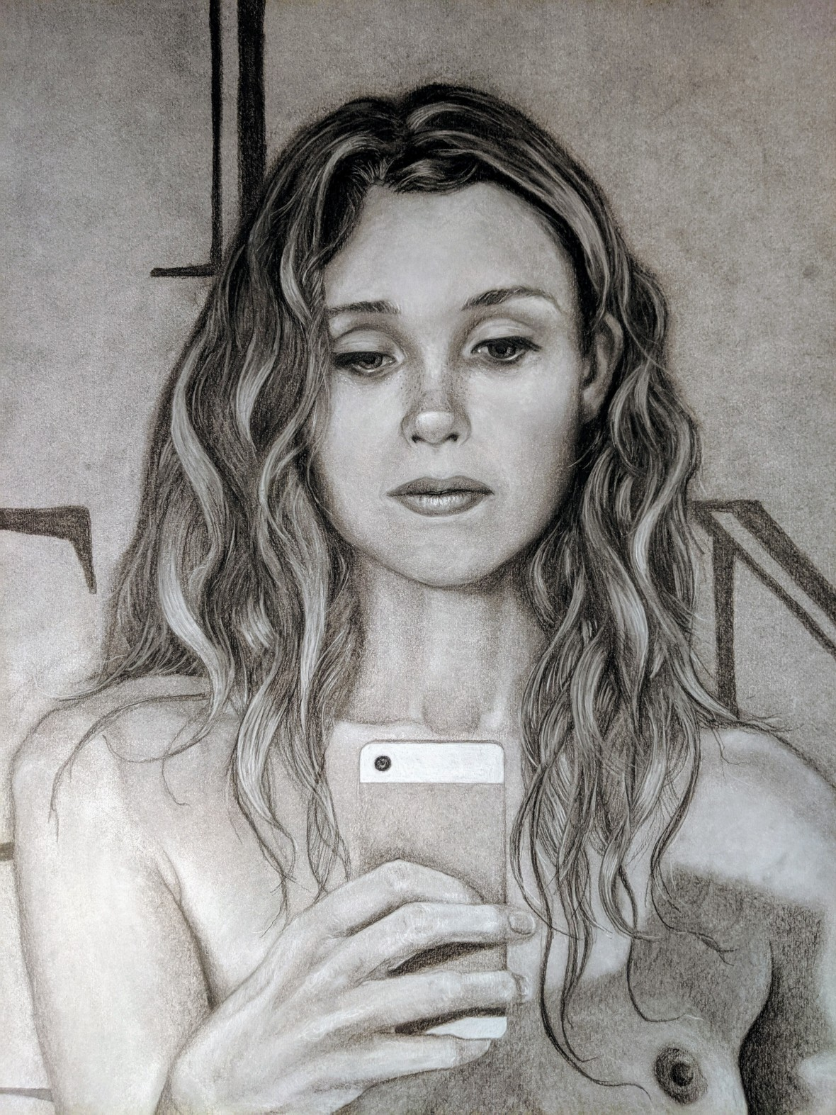 Close up black and white drawing of a naked woman taking a photo of herself in a mirror