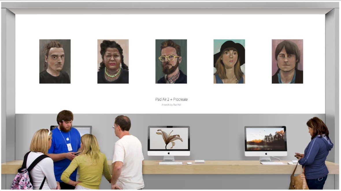 iPad paintings displayed on the walls of an Apple Store