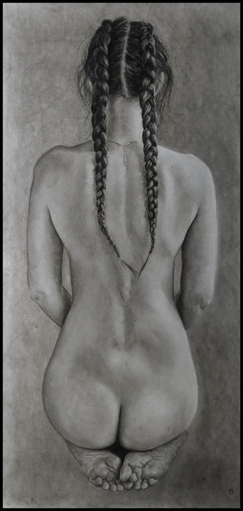 Black and white drawing. A female nude figure kneels with their back to us. Her long hair is plaited