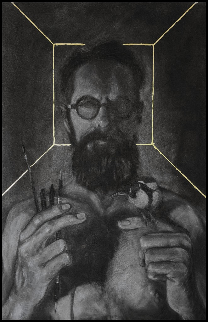 A bearded figure is framed from the chest up. He stands facing us, with brushes in his right hand and a great tit perched upon his left hand. The outline of the small room, in which he stands, is depicted in gold leaf.