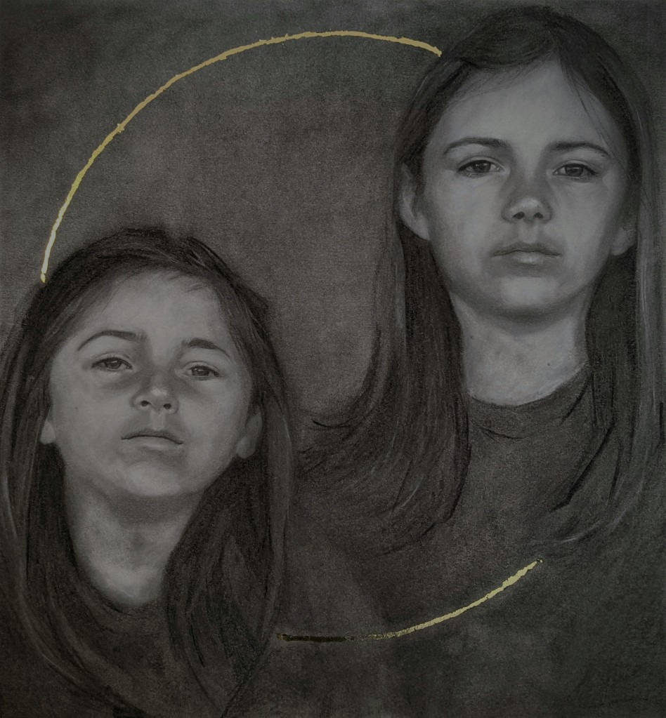Charcoal portrait of two children, encircled in gold leaf