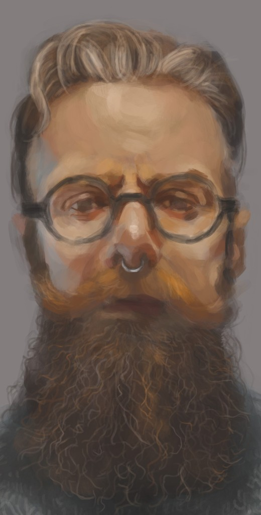 iPad painting of a man with beard and circular glasses. He has a small silver ring through his nose